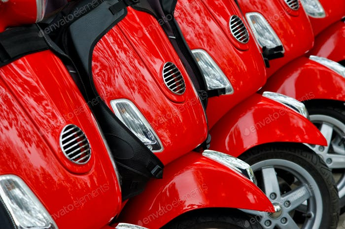 Group of red scooters