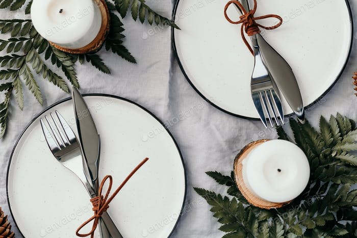 Top view on festive table settings