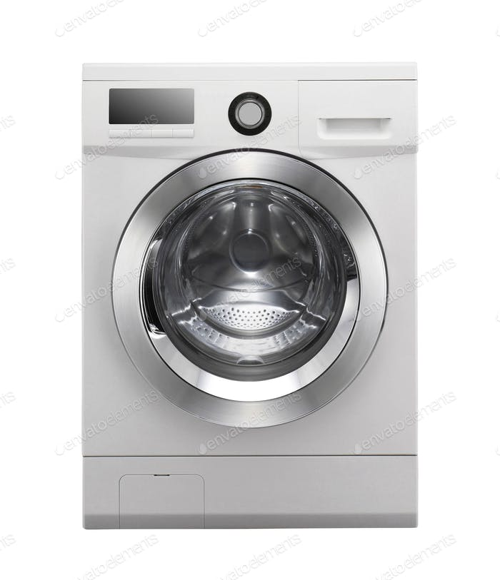 Closed washing machine on white background