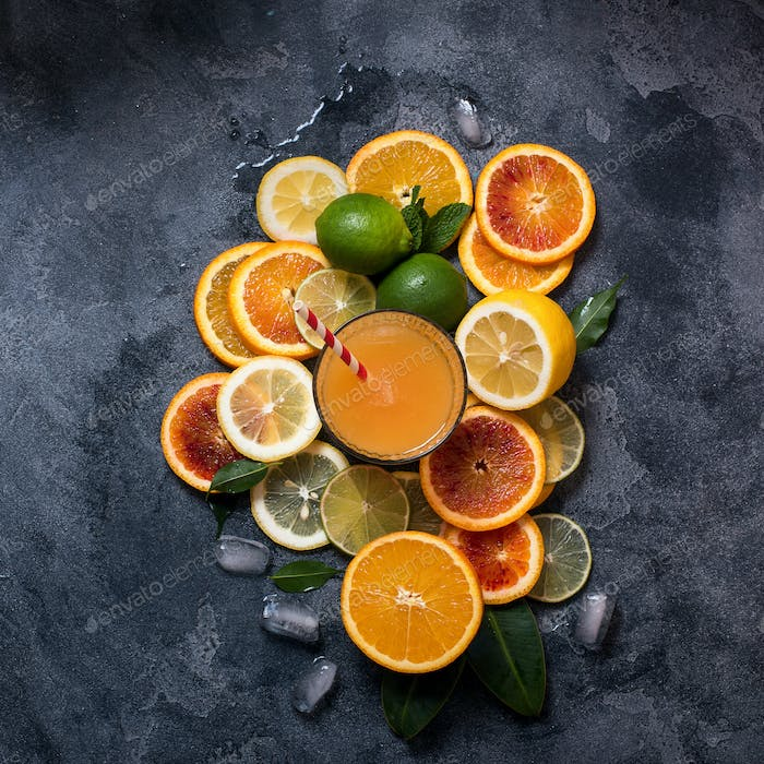 Citrus Juice and Fruits Background