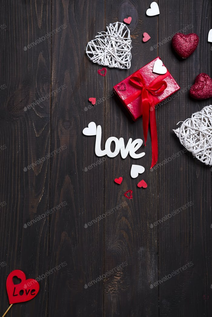 Valentine's day background with love letters and heart shapes.