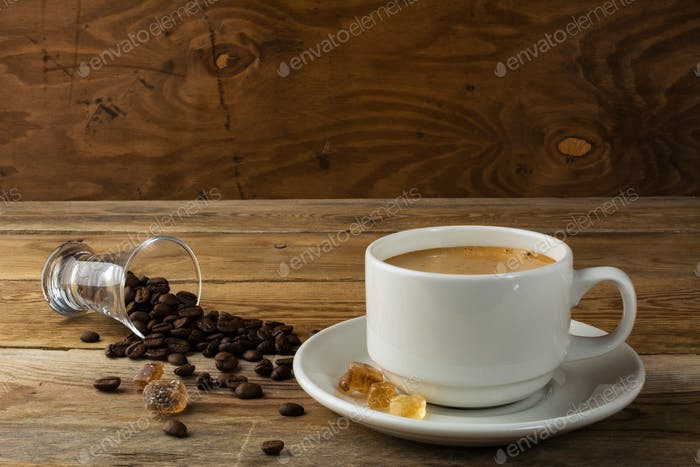 Morning coffee concept on rustic background