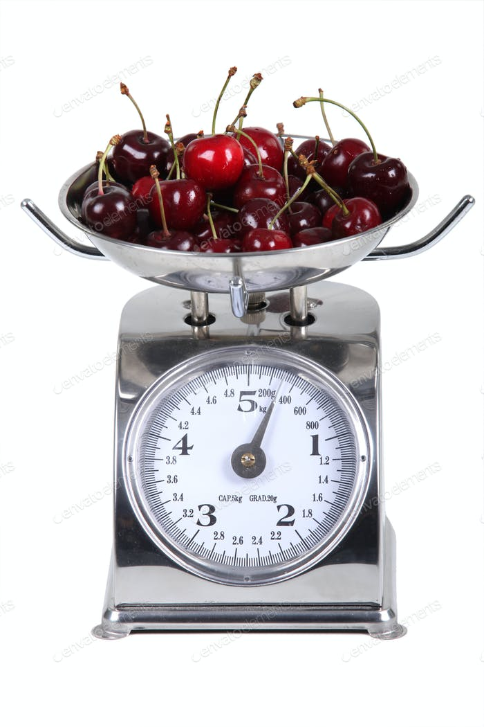 Weighing cherries