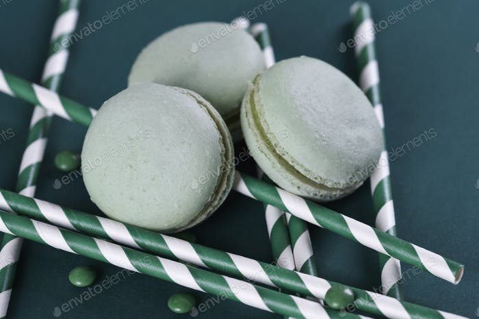 Top view of macaroon with other sweets
