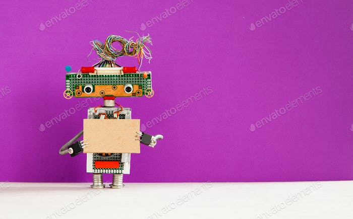 Robot with a cardboard card mockup.