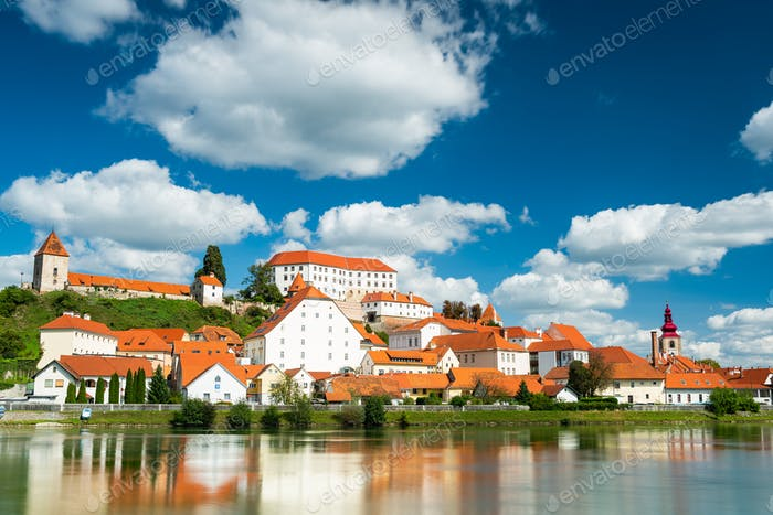 Beautiful Ptuj Grad in Slovenia with Castle and Fortifications a