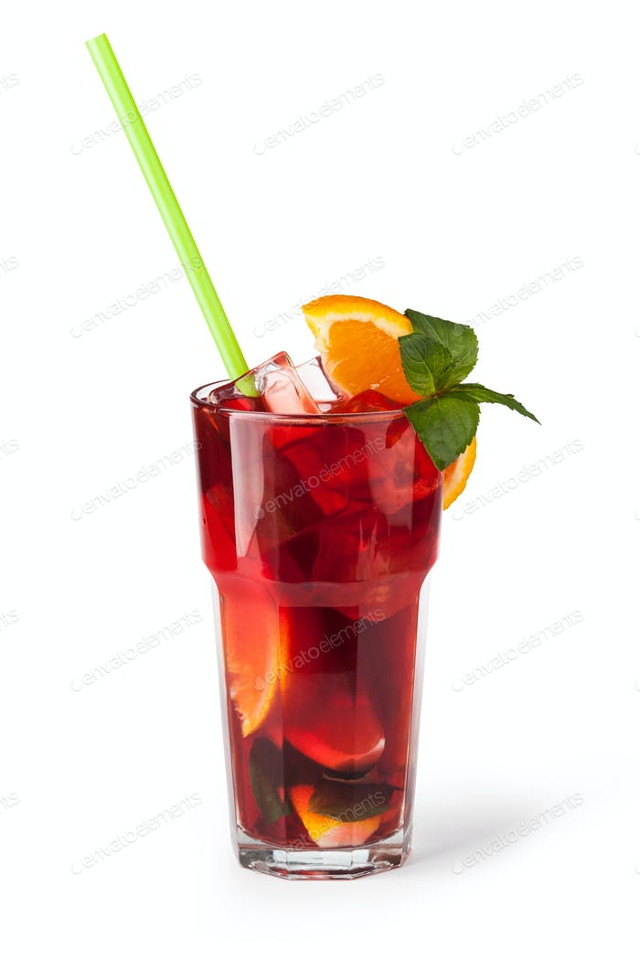 Glasses of fruit drinks with ice cubes