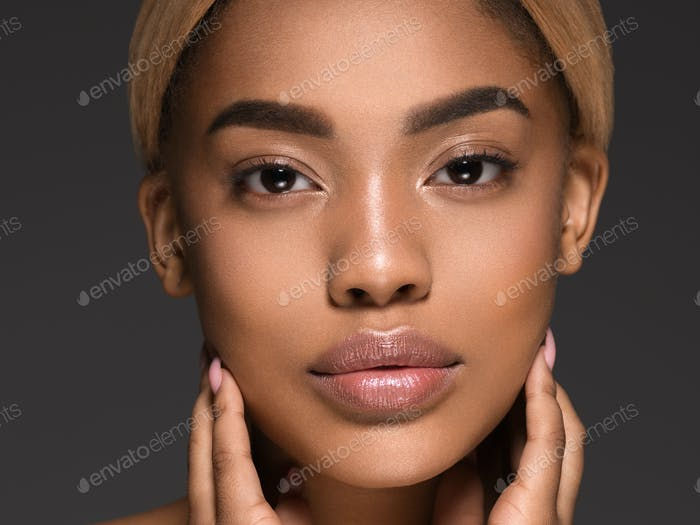 Beauty black skin woman african ethnic female face portrait