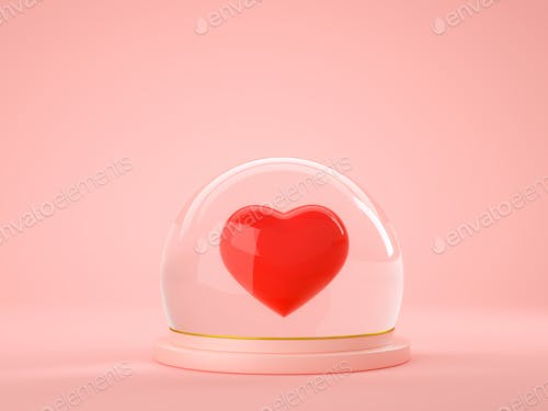 3d rendering of red heart inside glass ball globe on pink background
