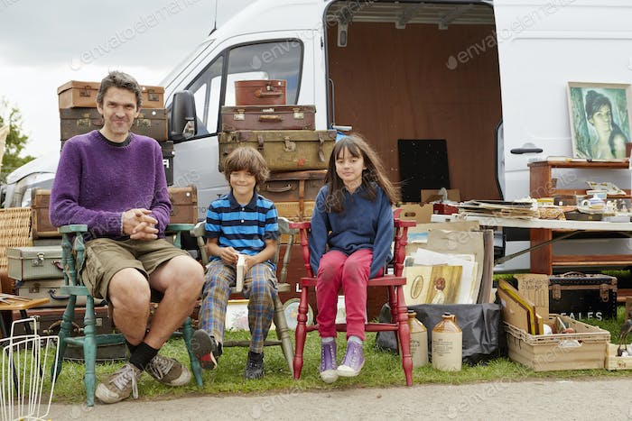 Family at a car boot sale
