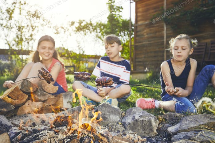 Children enjoy campfire