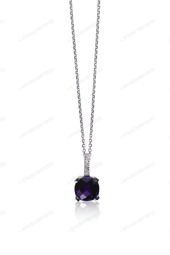 Cushion cut Amethyst chain necklace