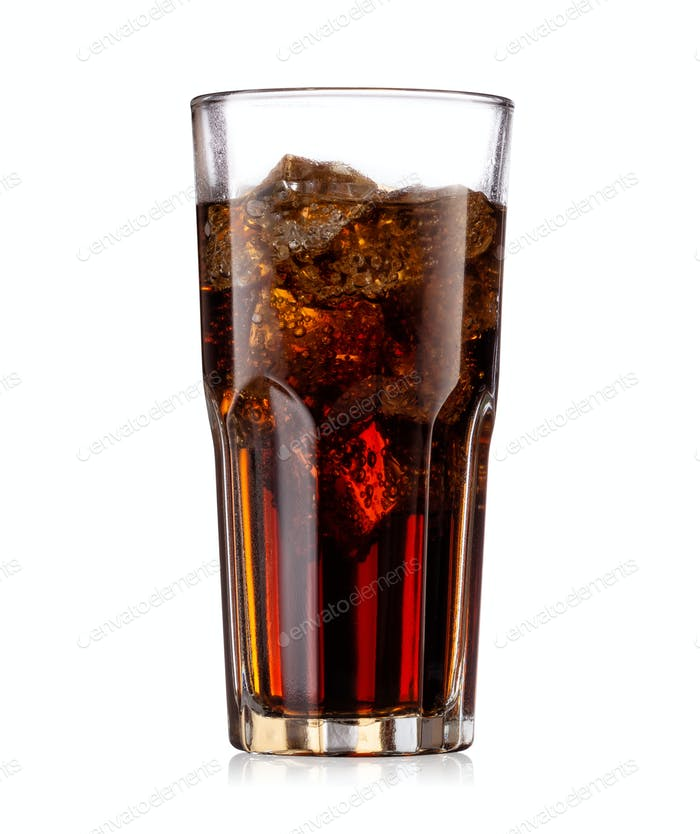 Brown carbonated drink in a glass with ice