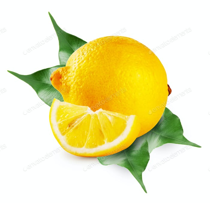 Lemon whole and slice with leaves