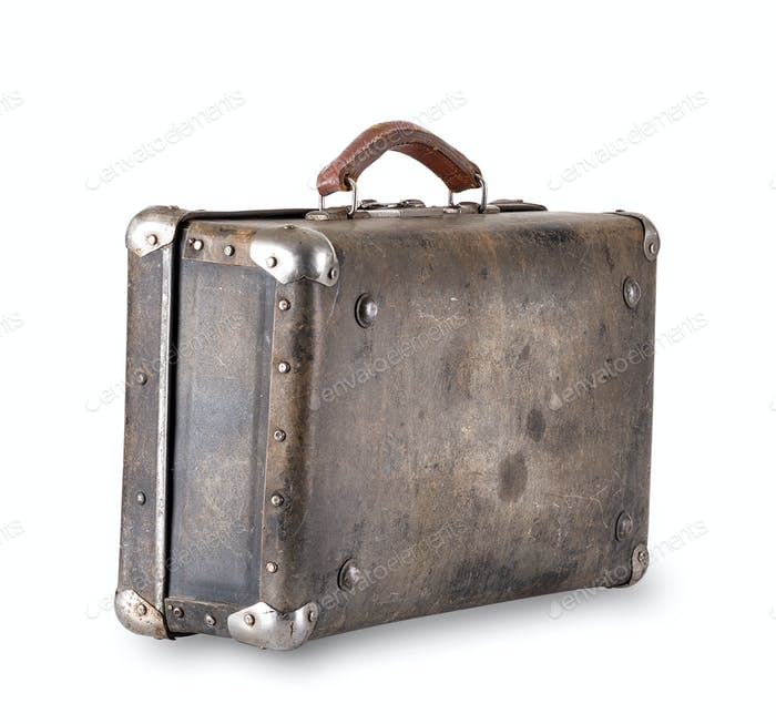 Old worn brown suitcase