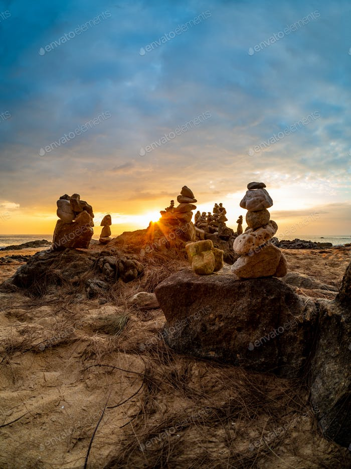 Zen stacked stones at the beach