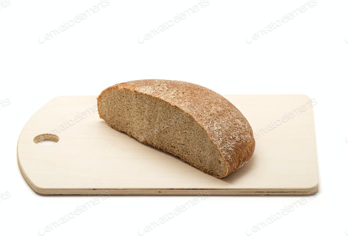 Rye bread on a wooden chopping board