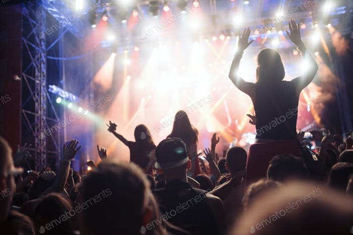 Portrait of happy crowd enjoying at music festival