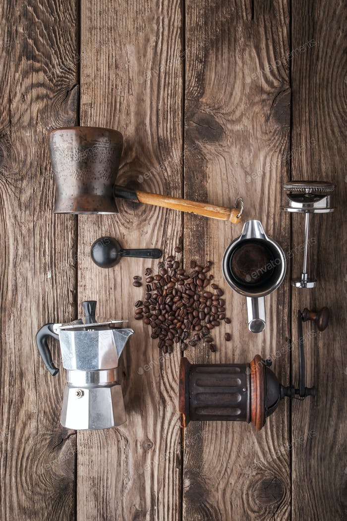 Accessories for coffee on the wooden table