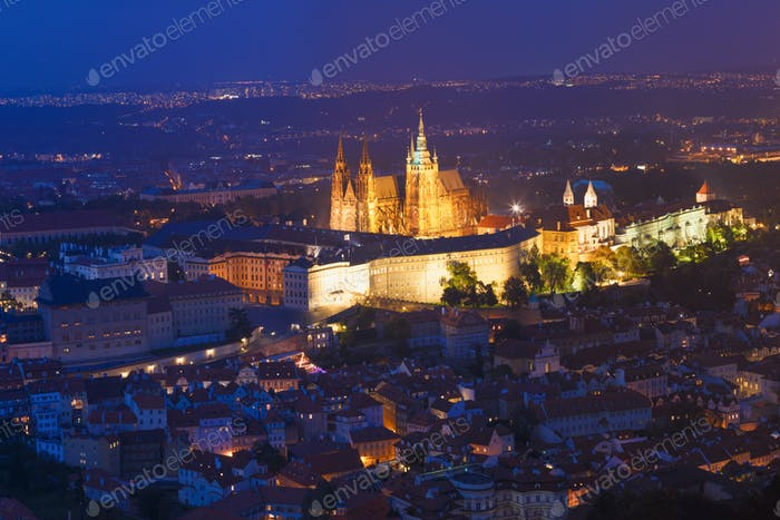 Prague, Czech Republic. Night View Of Prague Castle, St. Vitus C