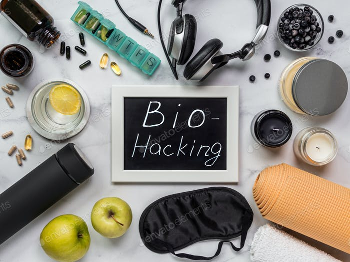 Biohacking flat lay concept