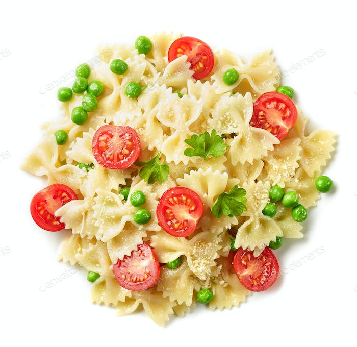 pasta farfalle with cheese and vegetables