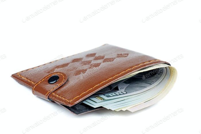 Cheap brown wallet with $100 bills