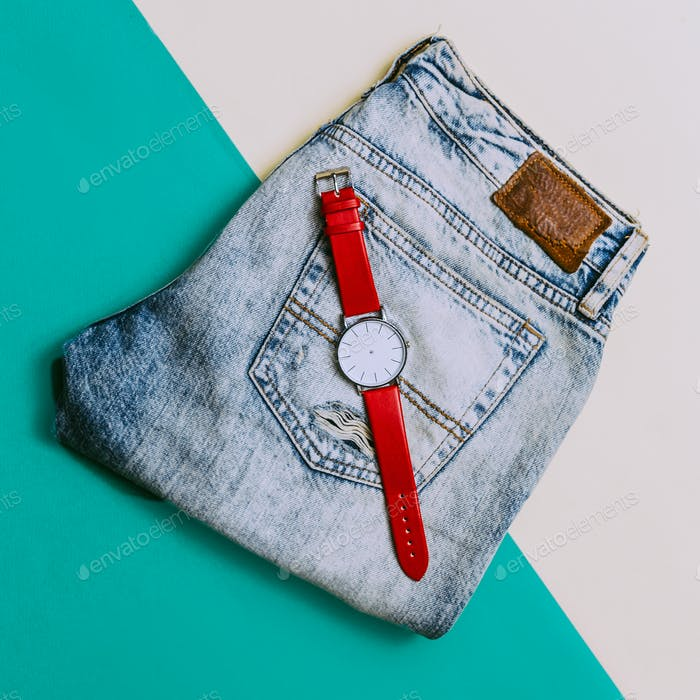 Urban Style. Denim and Accessories Watches