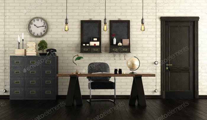 Home office in retro style