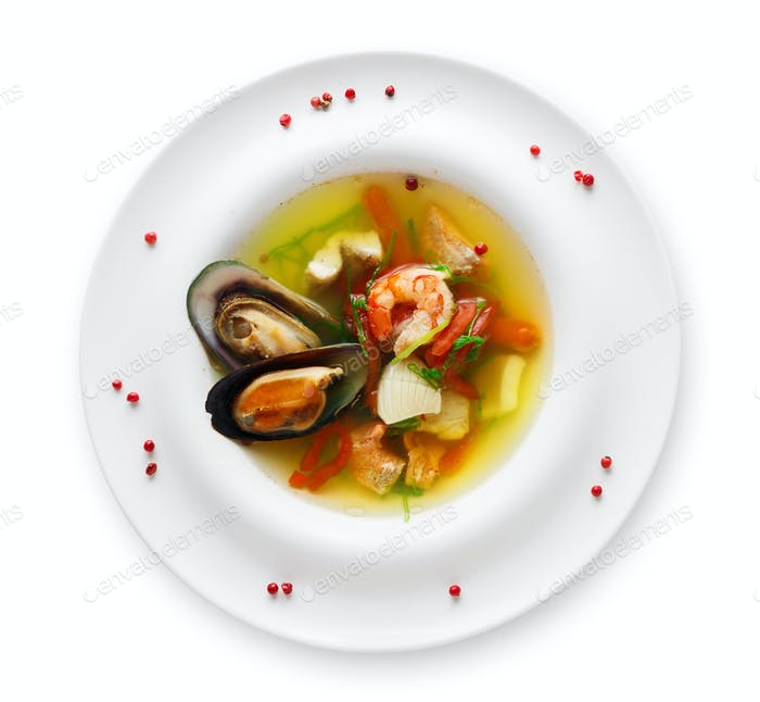 French seafood soup plate isolated on white