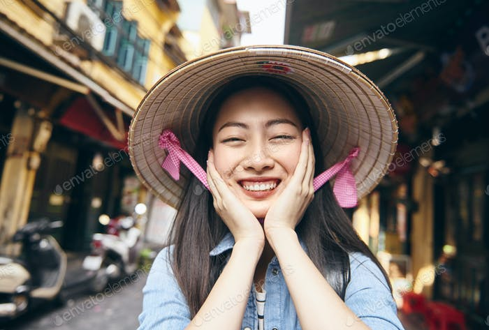 Portrait of beautiful Vietnamese woman in Hanoi city