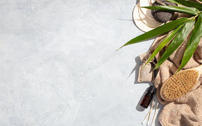Zero waste, eco friendly bathroom accessories on concrete background