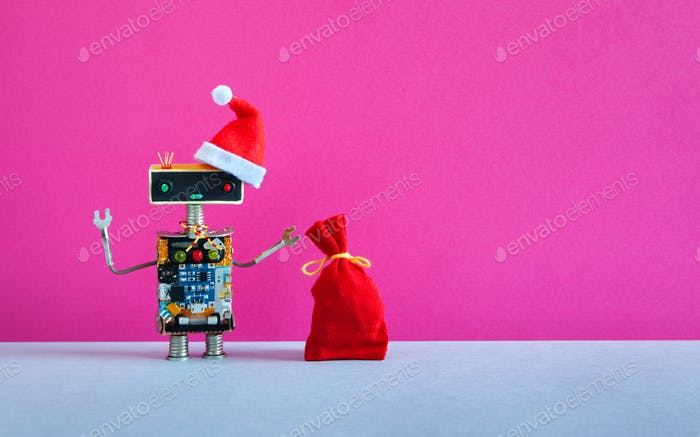Robot Santa Claus hat with a bag of gifts on pink background.