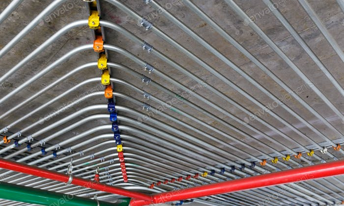 Pipes on ceiling wall