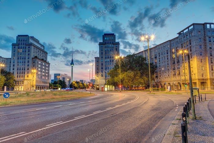 The Strausberger Platz in Berlin after sunset