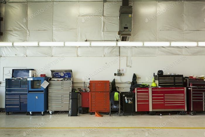 45631,Tool Chests In An Automobile Repair Shop