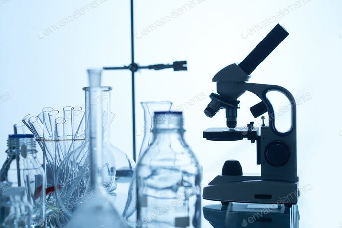 Laboratory Bench with Glassware and Equipment