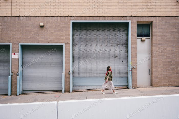 Young woman walking in New York