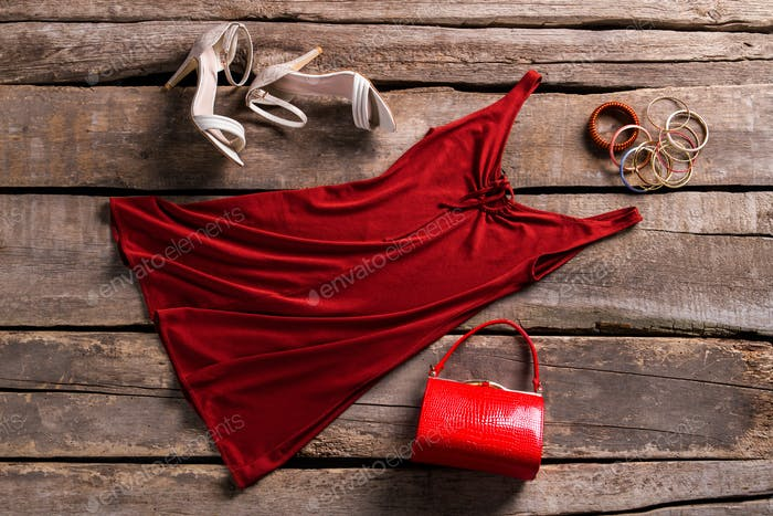 Red keyhole dress and accessories.