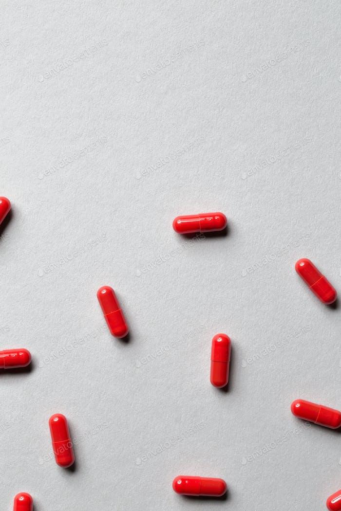 red medicine capsules
