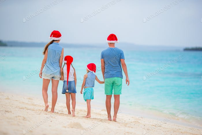 Happy family during tropical Christmas vacation