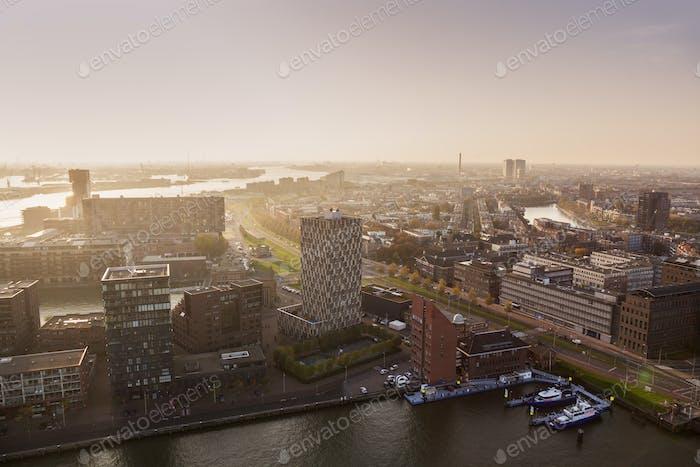 Aerial panorama of Rotterdam at sunset