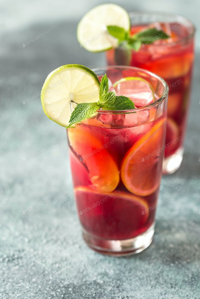 Two glasses with Spanish fruit Sangria