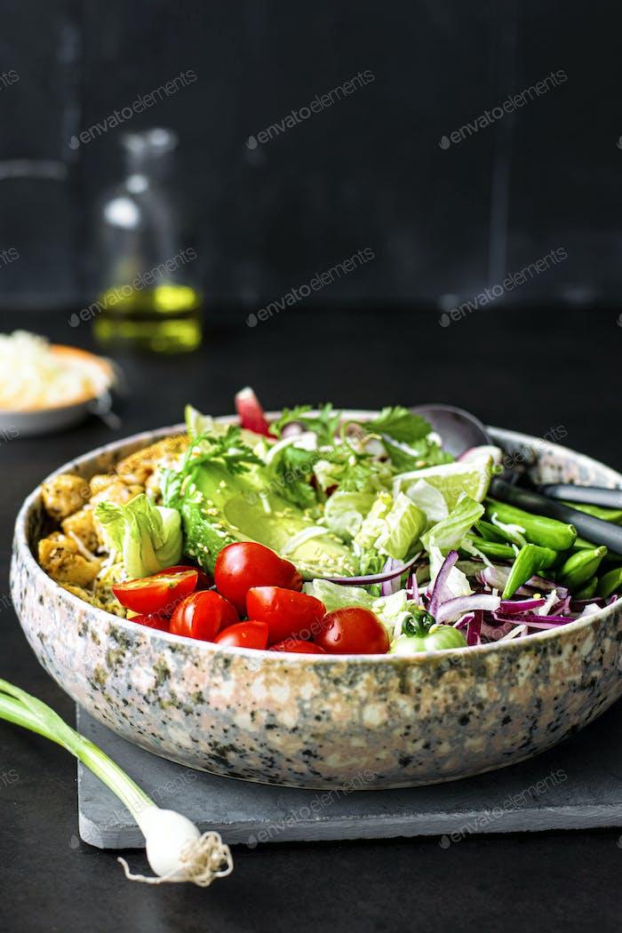 Homemade chicken and veggie salad recipe idea