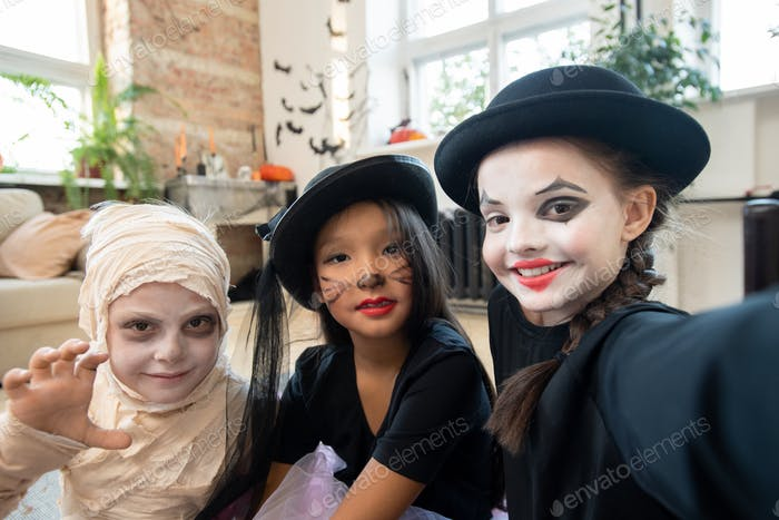 Selfie of school kids with Halloween makeups