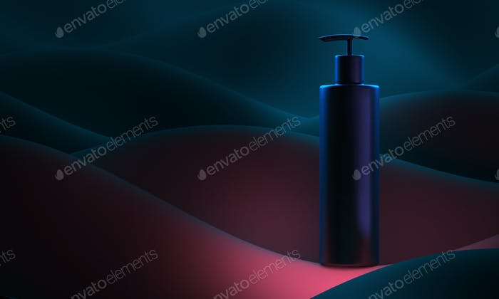 realistic bottle 3d illustration. Soap pump on background colour abstract waves. Cosmetic vial wish