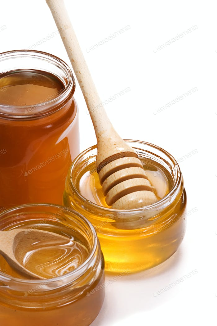 glass pots with honey