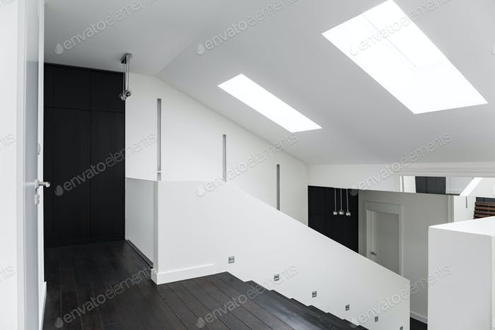 White villa corridor with stairs