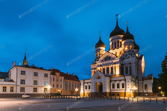 Tallinn, Estland. Gebäude der Alexander-Newski-Kathedrale n Nacht