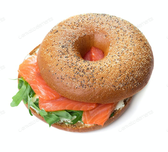 Bagel snadwich with salmon